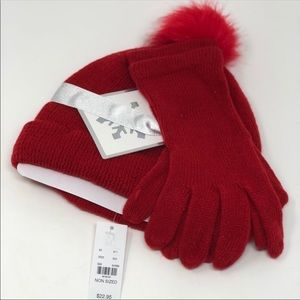 New York and company hat ands gloves gift set Red